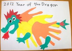paper hand print dragon picture
