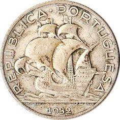 """carleenallen: """" 1932 Portugal 2-½ Escudos Silver Coin Sailing Ship """""""