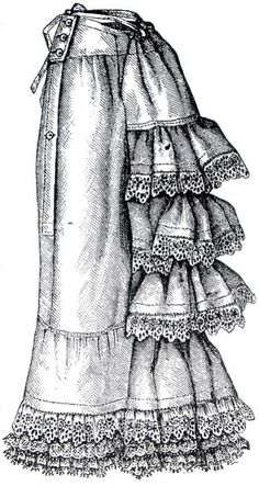 1882 Ruffled Petticoat - Natural Form Era