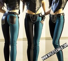 My Little Halo - Teal & Black Leggings http://mylittlehalo.com/metal-clothing-collection