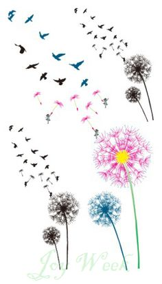 Waterproof Temporary Tattoo Sticker fly birds with dandelion tattoo small size for girl Water Transfer Flash fake tattoo-in Temporary Tattoos from Health & Beauty on Aliexpress.com | Alibaba Group