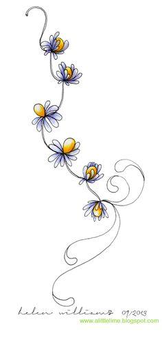a little lime: Flowery Zentangle Art in Color Zentangle Drawings, Doodles Zentangles, Doodle Drawings, Tangle Doodle, Zen Doodle, Doodle Art, Doodle Patterns, Zentangle Patterns, Flower Doodles