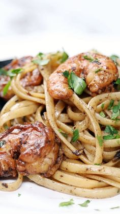Black Garlic Shrimp Linguine--Once you try this savory black garlic, you won't be able to go back to the ordinary stuff.