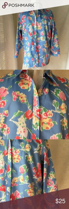 Chaps No Iron Cotton Floral Button Front Blouse Classic Blouse from Ralph Lauren  Button Front Collar ¾ Length Sleeves with Cuff Pretty Floral Print  No Iron Cotton Chaps Tops Blouses