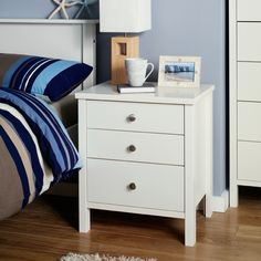 Buy Baltic White Three Drawer Bedside Cabinet from our range today from George at ASDA. Bedside Drawers, Bedside Cabinet, Dresser As Nightstand, Bedside Tables, White Side Tables, Spare Room, Bedroom Decor, New Homes, Asda