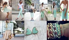 Mixing neutrals with pastel green.