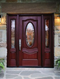 Choice: Solid Wood Mahogany Oval Victorian Glass With Sidelights Exterior Pre-Hung Door. Lighted Masonite Exterior Entry Doors Design Collections with Oval Shaped Glass Doorlite. - August 03 2019 at Wooden Front Door Design, Wood Front Doors, Main Door Design, Front Door Entrance, Front Door Colors, Glass Front Door, Glass Door, Exterior Entry Doors, Interior Barn Doors