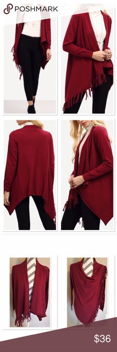 Red Open Front or Button Wrap/Cardigan Red colored wrap front or open fringe cardigan.  OSFM.  Acrylic stretchy material. No holds or trades!   Direct from wholesaler without tags! Boutique Sweaters Cardigans