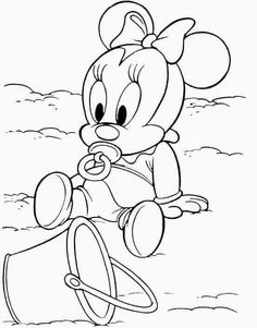Free Disney Coloring Pages, Colouring Pages, Adult Coloring Pages, Coloring Books, Disney Sketches, Disney Drawings, Cartoon Drawings, Minnie Baby, Baby Mouse