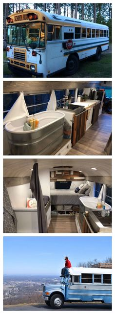 "Living in a school conversion seems to be an up and coming trend, with school bus tiny homes being called a ""skoolie."" But it's not always easy living in a school bus camper. Check out these amazing school bus conversions to learn more. Airstream, School Bus Conversion, Camper Conversion, School Bus Tiny House, School Buses, Old School Bus, Kombi Trailer, Bus Remodel, Trailer Remodel"