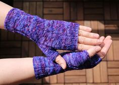 Fingerless Mittens, handknitted from hand dyed wool and polyamide yarn, supersoft and warm, holiday gift for her or him by MumpitzDesign on Etsy