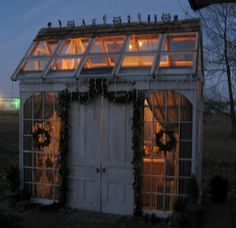 greenhouse out of old windows and doors.