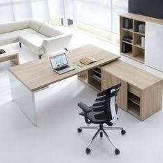 bureau de direction / en plaqué bois / contemporain / avec rangement intégré