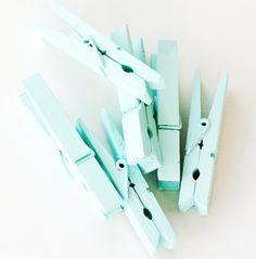 aqua clothespins