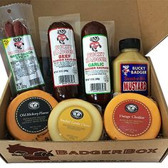 (Limited Time Sale!) Gourmet Meat and Cheese Gift Box - 100% Made in Wisconsin - Quality Guaranteed - Badger Box