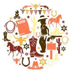 Cowboy Icon Set Royalty Free Stock Vector Art Illustration