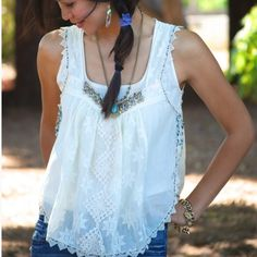 Free people crochet lace tank beaded embellished Beautiful boho style lace up side tank. From New Romantics collection. So dreamy and romantic! Beaded embellished collar Free People Tops Blouses