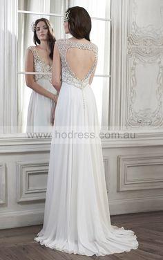 sku:fqcf1037; Silhouette:A-line; Fabric:Chiffon; Back Details:Buttons; Neckline:V-neck; Waist:Empire; Colour:Ivory,White; Sleeve Length:Sleeveless;