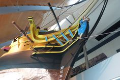 Replica of Bow of HMS Pandora at Museum of Tropical Queensland, Townsville, Queensland, Australia.  HMS Pandora was wrecked on the Great Barrier Reef in 1791 after rounding up mutineers from The Bounty