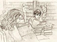 Viktor Krum watching Hermione study.