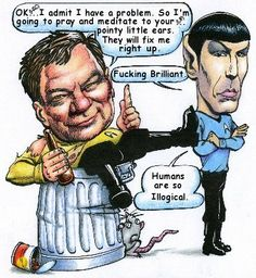 Kirk and Spock Little Company, Alcoholics Anonymous, Caricature, Star Trek, Baseball Cards, Funny, Astronauts, Spock