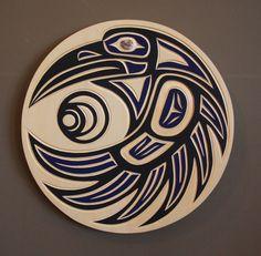 Harvey JOHN Original Haida carving RAVEN SUN New Yellow CEDAR Panel wall native