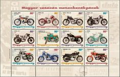 2014 MotorcyclesMiniature Sheet of 12 stamps