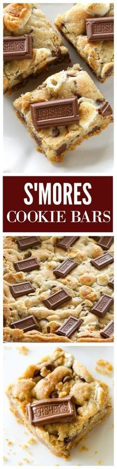 S'mores Cookie Bars - chocolate chip marshmallow cookie dough with a graham cracker crust. Seriously delicious. http://the-girl-who-ate-everything.com