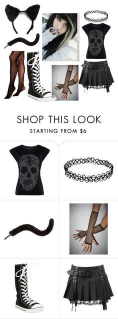 """""""neko, fishnet, emo girl"""" by emo-neko27 ❤ liked on Polyvore featuring Monsoon and Vince Camuto"""
