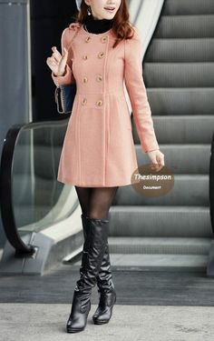 Pink Cashmere Coat Fitted Military Style Wool Winter Coat Women Coat (more colour and size choice)