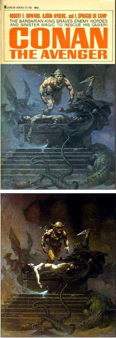 FRANK FRAZETTA - Conan the Avenger - Björn Nyberg , Robert E. Howard , L. Sprague de Camp - 1969 Lance Books - cover by isfdb - print by frankfrazetta.net