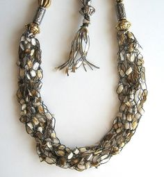 FreeStyle Fiber and Bead Necklace  Sparkling by knittykittie, $14.00