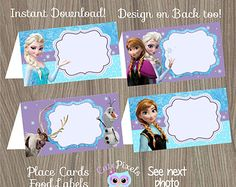 Frozen Place Cards, Frozen Food Labels, Frozen Tent Cards, Frozen Birthday…