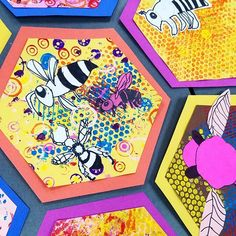 @marshallelementaryart 2nd grade beehives #printmaking #bubblewrap #sharpie #bees #collage #mixedmedia #2ndgrade #elementaryart