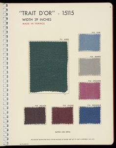 """Book with a red plastic cover with """"Ducharne"""" in white. Contains woven samples of silks, with and without metallic threads, and velvets. Academic Art, Metallic Thread, Fashion Colours, Vintage Fashion, Velvet, France, Plastic, Colors, Red"""
