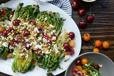 Grilled Romaine Salad with Cherries, Feta and Toasted Pine Nuts l SimplyScratch.com (8)