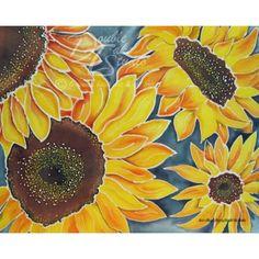 Batik Art Print: Sunflower fields