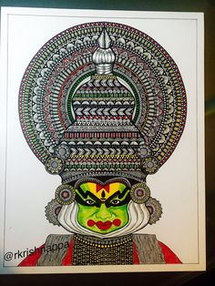 Onam festival Kathakali dancer art print by RashmiArtShop on Etsy Doodle Art Drawing, Zentangle Drawings, Mandala Drawing, Art Drawings Sketches, Realistic Drawings, Zentangles, Drawing Ideas, Mandala Doodle, Unique Drawings