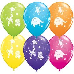 Cute & cuddly jungle animals latex balloons mixed colours http://www.wfdenny.co.uk/p/cute-cuddly-jungle-animals-balloons--mixed-colours/3412/