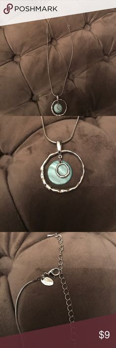 "Lia Sophia Necklace Lia Sophia Silver necklace with two silver rings and turquoise type pendant, almost a 4"" adjustable extender. Necklace at it's longest is approximately 19"" long. Great condition worn once or twice. Lia Sophia Jewelry Necklaces"