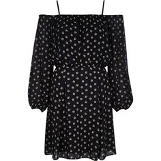 River Island Black floral print bardot boho dress ($76) ❤ liked on Polyvore featuring dresses, black, day / t-shirt dresses, women, long sleeve floral dress, bohemian dress, black floral dress, black tshirt dress and black tee shirt dress