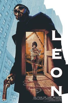Leon (The Professional) movie poster by Barrett Chapman Horror Movie Posters, Cinema Posters, Horror Movies, Cult Movies, Posters Vintage, Retro Poster, Retro Print, Film Poster Design, Movie Poster Art