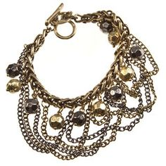 Ball and Chains Gold and Hematite Statement Bracelet-$28-Find hot fashion jewellery and statement jewlry at Strike Envy. #jewellery #jewlry