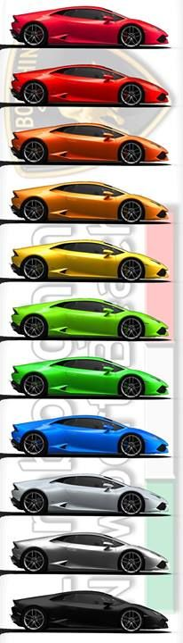 Lamborghini Huracán LP 610-4 in a Rainbow of Colors for our Fans. Colors > Rosso Vik - Rosso Mars - Arancio Argos - Arancio Borealis - Giallo Midas - Verde Ithaca - Verde Mantis - Monterey Blue - Matte White - Grigio Estoque - Matte Black.