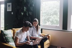 Charlotte Rey & Duncan Campbell — Friends of Friends / Freunde von Freunden Interview, Yellow Sofa, North London, White Trim, House Tours, Interior And Exterior, Charlotte, Creative, Green Walls