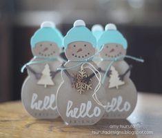 Tsuruta Designs: papertrey ink blog hop: hello friend.  Love the snowman with the wet paint
