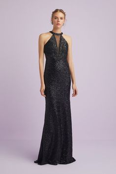 Apr 2020 - You will wow in the stunning full length black sequinned and beaded dress. Featuring a beaded halter neck with a sexy low v. This gown also has a stunning low back is fitted to perfection. Designer Wedding Dresses, Bridal Dresses, Prom Dresses, Formal Dresses Australia, Vintage Formal Dresses, Occasion Wear, Red Fashion, Sequin Dress, Evening Dresses