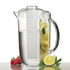"""this fruit infuser pitcher is really amazing…helped me lose 15 pounds just by switching from juice and soda to fresh fruit water"" from the original pinner.  $27.82"