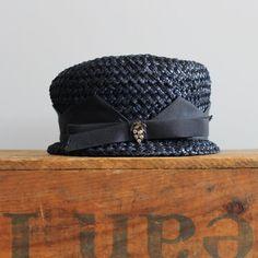 vintage 1950s hat // 50s woven hat // navy blue // by LeMollusque, $36.00