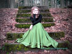 Women's dressy olive green maxi skirt with by SnowdropsDesigns, $140.00
